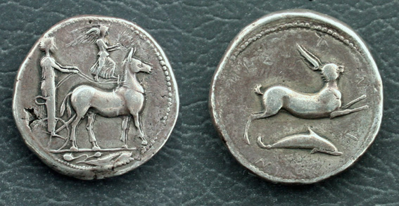 SICILY, Messana. Circa 425-421 BC. AR Tetradrachm (17.17 gm). Charioteer driving biga of mules right, holding reins; Nike walking right on reins, crowning mules; olive leaf in exergue / Hare springing right; dolphin right below. Caltabiano 491 (D200/R196); SNG ANS 359 (same dies); Weber 1425 (same dies).